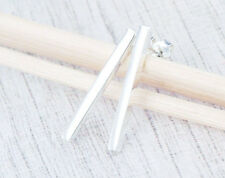 925 Sterling Silver Rectangle Stick Stud Earrings 2x20mm.