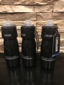 Lot Of 3 Camelbak Podium bike Water Bottles, 24oz, Black  Free Shipping!