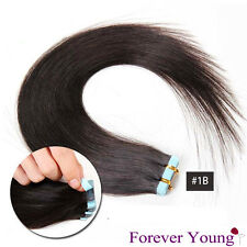 """Forever Young Tape in Skin Weft 100 Virgin Human Hair Extensions All Lengths Natural Black #1b 18"""" 2 Packet - 60g of Hair"""