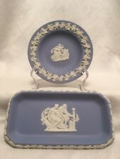 Two Wedgewood Pale Blue / Lavender Jasperware Trinket Dishes ~ Classical Themes