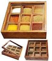 Küche Gewürze Ablage Rack mit Glasplatte Holz Box Display Aufbewahrung Halter