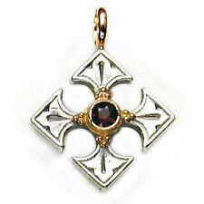 Gerochristo 5010~  Gold,Silver & Garnet -  Byzantine-Medieval Cross Pendant