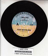 "OLIVIA NEWTON-JOHN  I Need Love  7"" 45 rpm record + juke box title strip NEW"