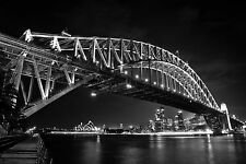 australian photo landscape art print SYDNEY harbour  black white 100cm x50cm