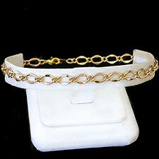 """Gold Ep Anklet Ladies Beach Foot Chain 12"""" Ladies 5mm Fancy Open Curb Link 14kt"""