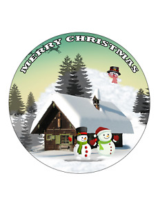 Merry Christmas Edible Icing  7.5 inches Cake topper SET 8
