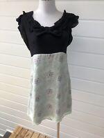 ALANNAH HILL My Shakey Nerves Black Green Silk Short Sleeve Dress - Size 12
