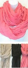 D8024. Solid Color Viscose Infinity Scarf Lot of 12 (4 each of 3 Colors)