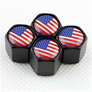 American Flag USA Logo Black Car Tire Wheel Air Pressure Stem Valve Caps Covers