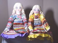 """Russian Cloth Dolls Lot of 2 Vintage Handmade 20"""" Traditional Dress Painted Face"""