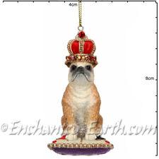 New Gisela Graham-Hanging British Bulldog Christmas Decoration w/Crown & Cushion