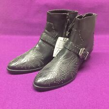 "ZARA Leather Western Ankle Moto Boots Black 7 1/2 "" (38"")"
