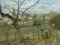 CAMILLE PISSARRO FRENCH FENCE OLD ART PAINTING POSTER PRINT BB5041A