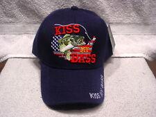 KISS MY BASS FISHING UNITED STATES BASEBALL CAP HAT ( DARK BLUE )