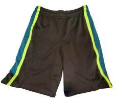 New Boy's Champion Black w Blue & Green Stripe Athletic Mesh Shorts Size L 12-14