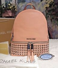 NWT MICHAEL Kors $378 RHEA Zip Grommet MEDIUM  Backpack Leather PALE PINK/Silver