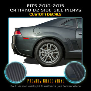 For 2010-2015 Chevy Camaro Thin Side Vent Gills Inlay Decals Matte Carbon Fiber