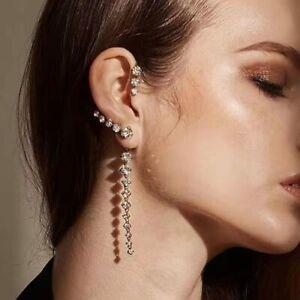925 Silver Crystal Tassel Long Earrings Ear hook Drop Dangle Women Jewelry Gifts