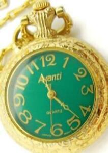 """24"""" Avanti Necklace Pendant Green Woman's Watch Vintage Quartz Gold-T Back Light"""