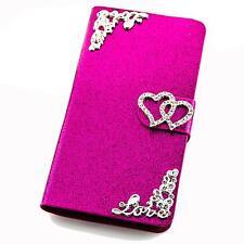 Strass Herz Muster Schutz Hülle Case Handy Tasche Flip Cover Book Style Etui 226