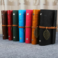 Retro Leather Vintage String Leaf Blank Diary Notebook Journal Sketchbook wer