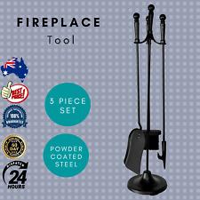 Jumbuck Fireplace Tool Set Shovel Brush Poker Stand Outdoor Firepit Coated Steel