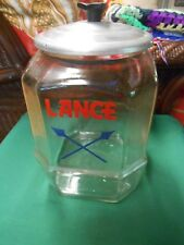 -Great Outstanding Vintage LANCE Glass Canister..embossed bottom
