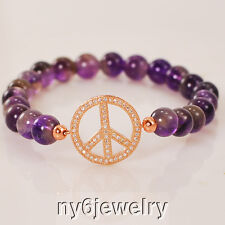 "Natural Amethyst Bead & Cubic Stretchy Bracelet w/""PEACE"" Charm Nice gift ideas"