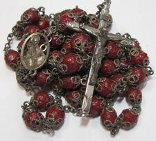 † ENORMOUS VINTAGE STERLING CRIMSON RED ROSE SCENTED ALL DOUBLE CAPPED ROSARY †
