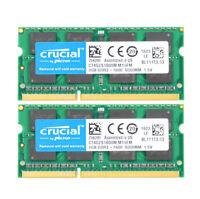 16GB Crucial 2X 8GB PC3 12800S DDR3 1600MHZ  SODIMM Laptop Memory RAM 204PIN