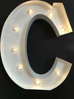LED LIGHT CARNIVAL WHITE WEDDING CELEBRATION LETTER C - ALL METAL LARGE 33 CM