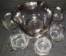 Set of 6 Vintage Dorothy Thorpe Silver Fade Queens Lusterware Salad Bowl Set