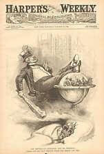 Political Cartoon, Republican Candidate & His Warwick, 1888 Antique Art Print