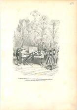 Cigales Fourmis Chenille Clavier Piano Musique ANTHROPOMORPHISME 1842 GRAVURE