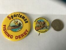 New listing 2 - Sportsman Fishing Fly Button Badge Pin License