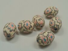Handmade Polymer Clay Beads, Oval, 16x13mm, hole: 2mm - Qty 6