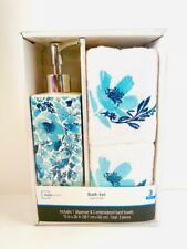 Mainstays 3-Piece Blue Flower Accessory Towel Set