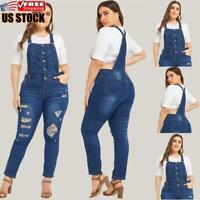 Plus Size Women's Slim Fit Denim Jeans Jumpsuit Overall Ripped Dungaree Trousers