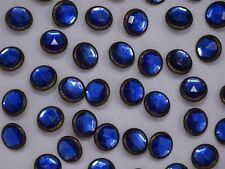 Vtg Blue Rhinestone w/ Embellished Border Shank Buttons 18mm Lot of 10 B128-11