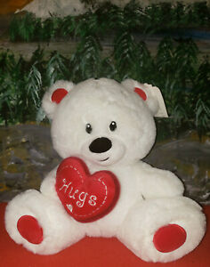 "10"" HUGS VALENTINES DAY PLUSH STUFFED WHITE TEDDY BEAR W/ HEART by CARLTON CARDS"