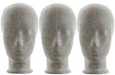 Dekokopf Perückenkopf Kind grau 3er Set Styropor-Neopor®  1a Markenqualität