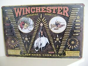 VINTAGE DESIGN WINCHESTER REPEATING ARMS CO. TIN SIGN COUNTRY CLAY PIGEON