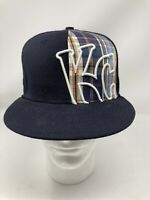 New Era 9Fifty MLB KC Kansas City Royals Wool Fitted Hat 7 3/8 Navy Blue/Plaid