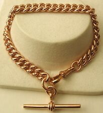 GENUINE 9K 9ct SOLID ROSE Gold ALBERT CURB Bracelet with T-BAR and SWIVEL