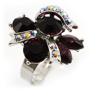 Rhodium Plated Crystal Cluster Fashion Ring (Violet&Purple)