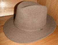 Mens SCALA CLASSICO Fur Felt big brim outback fedora Hat tan size SMALL new !