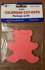 Calendar Cut-Outs Teddy Bear 31/Pk 3In BULLETIN BOARDS Home Schooling Teaching
