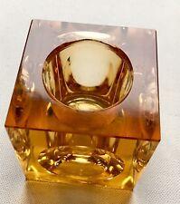 JAPANESE GLASS HONEY COLOR CUBE LIGHTER BASE VINTAGE 60'S RETRO ROSS ART