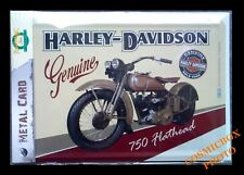 Carte postale en métal HARLEY DAVIDSON plaque moto 750 Flathead genuine postcard