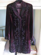 Elie Tahari Stunning RareVintage Velvet Embroidered Coat Wine Ex Cond